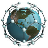 Nano world. Isolated earth whith nano net structure Royalty Free Stock Images