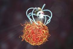 Nanobot som anfaller cancercellen, medicinskt begrepp för nanoteknik stock illustrationer