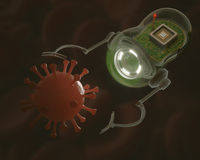Nanobot x Virus Royalty Free Stock Image