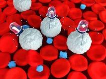 Nanobots som anfaller leukemic vita blodceller Royaltyfri Fotografi