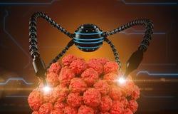 Nanorobot e virus, batteri, microbo Futuro anatomico di concetto medico Anatomia umana, vista interna dell'organismo royalty illustrazione gratis