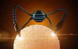 Nanorobot fertiliza o ovo da pilha Futuro anatômico do conceito médico foto de stock royalty free
