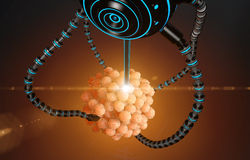 Nanorobot fertilizes the cell egg. Medical concept anatomical future Stock Photography