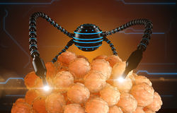 Nanorobot fertilizes the cell egg. Medical concept anatomical future.  Royalty Free Stock Photo