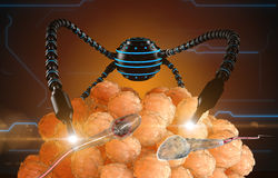 Nanorobot fertilizes the cell egg. Medical concept anatomical future.  Royalty Free Stock Images