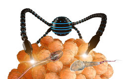 Nanorobot fertilizes the cell egg. Medical concept anatomical future.  Stock Image