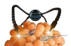 Nanorobot fertilizes the cell egg. Medical concept anatomical future Stock Image