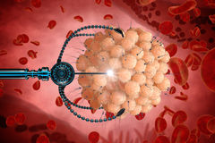 Nanorobot fertilizes the cell egg. Medical concept anatomical future.  Royalty Free Stock Photos
