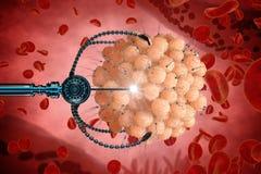 Nanorobot fertilizes the cell egg. Medical concept anatomical future Royalty Free Stock Photos