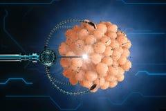 Nanorobot fertilizes the cell egg. Medical concept anatomical future Stock Photos