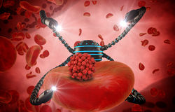 Nanorobot and virus, bacteria, microbe. Medical concept anatomical future. Human anatomy, inside organism view Stock Images