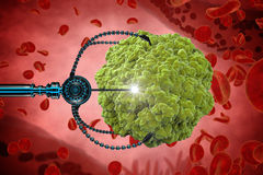 Nanorobot and virus, bacteria, microbe. Medical concept anatomical future. Human anatomy, inside organism view Stock Image