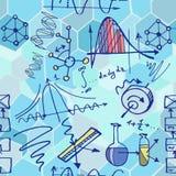 Nanoscience i physics bezszwowy wzór z nakreślenie elementami Obraz Royalty Free