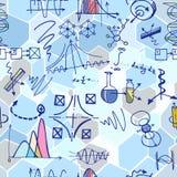 Nanoscience i physics bezszwowy wzór z nakreślenie elementami Obrazy Royalty Free