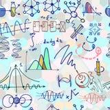 Nanoscience i physics bezszwowy wzór z nakreślenie elementami Zdjęcie Royalty Free