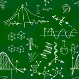 Nanoscience i physics bezszwowy wzór z nakreślenie elementami Fotografia Stock