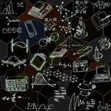 Nanoscience i physics bezszwowy wzór z nakreślenie elementami Obrazy Stock