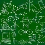 Nanoscience och den sömlösa modellen för fysik med skissar beståndsdelar Arkivfoto