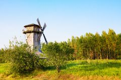 Ethnocultural complex Nanosy-Novoselye. It is historical recreation complex, which makes it pos. Windmill in ethnocultural complex Nanosy-Novoselye. It is stock photography