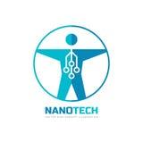 Nanotech - ejemplo del concepto de la plantilla del logotipo del vector Muestra creativa de la tecnología nana humana Red de orde Foto de archivo libre de regalías