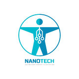 Nanotech - vector logo template concept illustration. Human nano technology creative sign. Electronic computer network and chip. Royalty Free Stock Photo