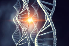Nanotechnologies and DNA molecule research. Background conceptual image with dna molecule. 3D rendering Stock Image