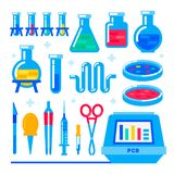 Nanotechnology and biochemistry. Polymerase chain reaction PCR machine and Laboratory equipment. Flask, vial, test-tube. Glass retorts. Human genome sequencing vector illustration