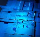 Nanotechnology concept. Tranparent blue levels and spheres nanotechnology concept royalty free illustration