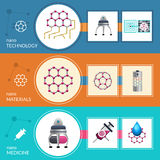 Nanotechnology concept 3 flat banners set Royalty Free Stock Photos