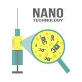 Nanotechnology concept. Illustration on theme of nanotechnology for science, medicine, microbiology Royalty Free Stock Photography