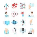 Nanotechnology Flat Icons Set Royalty Free Stock Photo