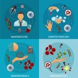 Nanotechnology Icon Set. Four nanotechnology icon set with descriptions of nanomedicine nanotechnology nanomaterials and nanoparticles vector illustration Royalty Free Stock Photo