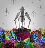 Nanotechnology Medical Therapy. Medicine concept as a group of microscopic nano robots or nanobots programed to kill disease as cancer virus and deadly bacteria Stock Photos