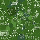 Nanotechnology and physics seamless pattern with sketch elements. Science  background with decorative formulas and graphs. Hand drawn Stock Photography