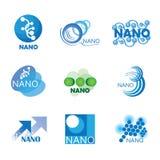 Nanotechnology set of logos vector illustration