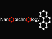 Nanotechnology symbol and white molecule on black Royalty Free Stock Photo