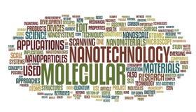 Nanotechnology words cloud. Vector illustration of nanotechnology related words isolated on white background Stock Photo