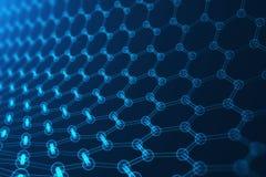 nanoteknik för tolkning 3d, glödande sexhörnig geometrisk formnärbild, atom- struktur för begreppsgraphene, begrepp Royaltyfri Foto