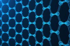 nanoteknik för tolkning 3d, glödande sexhörnig geometrisk formnärbild, atom- struktur för begreppsgraphene, begrepp Arkivbilder