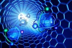 Nanoteknik, molekylär struktur och vetenskapsbegrepp, vetenskaplig illustration stock illustrationer