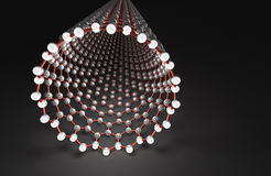 Nanotube on Black Surface, Red Bonds, White Atoms. 3D Computer Graphics, Carbon Nanostructure Royalty Free Stock Image