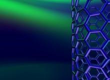 Nanotube brillant bleu de carbone sur le fond bleu-foncé Photo libre de droits