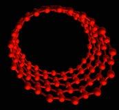 Nanotube lustré rouge sur le noir Images stock
