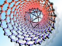 Nanotube y molécula interiores de Buckminsterfullerene (C60), ilustraciones del ordenador ilustración del vector