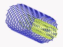 Nanotubes bleus et verts sur le fond blanc Photo libre de droits