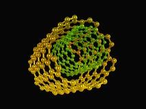 Nanotubes riflettenti gialli e verdi sul nero illustrazione di stock
