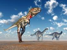 Nanotyrannus and Apatosaurus Royalty Free Stock Photos