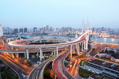 Nanpu bridge at dusk. Shanghai Royalty Free Stock Photography