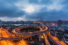 NanPu Bridge. The NanPu Bridge of Shanghai Stock Photography