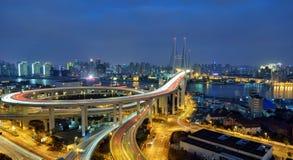 Nanpu Bridge, Shanghai. Nanpu bridge is a main bridge that across the huangpu river in Shanghai Stock Photos